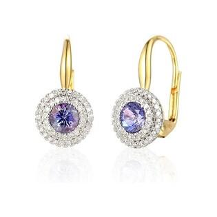 Kolczyki złote z diamentami i tanzanitem nr AW 57736 YW-TA okr.Markiza 2r