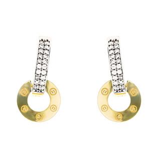 Kolczyki złote kółko ramka/ang.zap nr MZ T5-E-0219-176-CZ - SMALL VERS próba 375