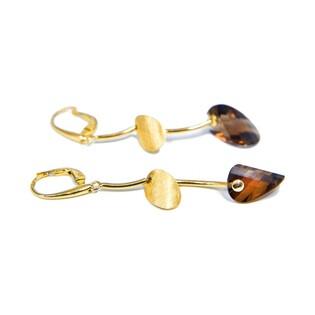 Kolczyki złote z kolekcji Laurel z kwarcem dymnym nr FL 26200 próba 585