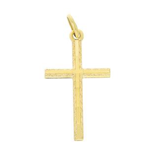 Krzyżyk złoty gładki grawerowany nr CB C-029 próba 585