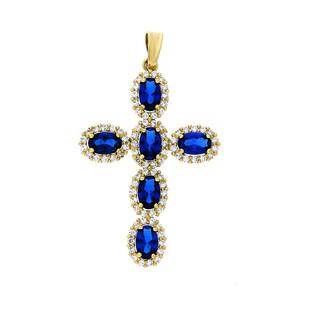 Krzyżyk złoty z kamieniami nr OS 96-3064-SZA próba 585