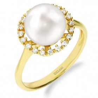 Pierścionek złoty z perłą i cyrkoniami nr FL55 FANTIN próba 585
