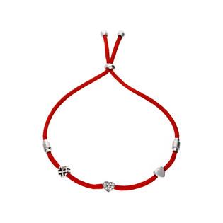 Bransoletka srebrna damska serca koniczynka nr. PW 328 czerwony próba 925
