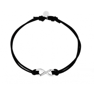 Bransoleta srebrna sznurkowa infinity ramka cyrkonie nr. PW 168 czarny próba 925