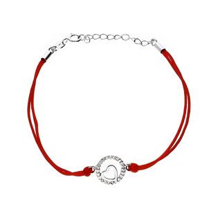 Bransoleta srebrna sznurkowa serce w kółku nr. PW 94 czerwony próba 925