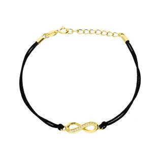 Bransoleta srebrna sznurkowa infinity pół cyrkonie nr. PW 54-1G czarny próba 925