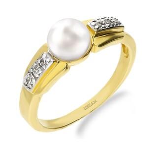 Pierścionek złoty z perłą białą i cyrkoniami nr FL BF1 próba 585