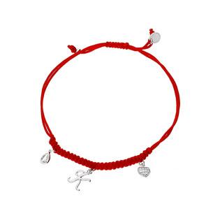 Bransoleta srebrna sznurkowa z wiszącym serce, łezką i literką K nr. PW 225-1 czerwony próba 925