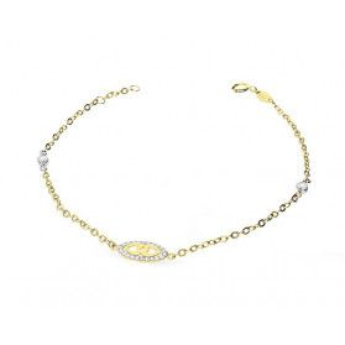 Bransoleta damska złota z cyrkoniami numer AR XXROLO1B-200043-YW-FCZ próba 585