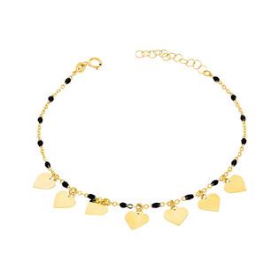 Bransoleta złota kulki czarne i serca nr PW PGL77B-1-czarne próba 585