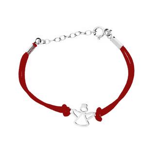 Bransoleta srebrna sznurkowa anioł ramka blask nr. PW 157 czerwony próba 925