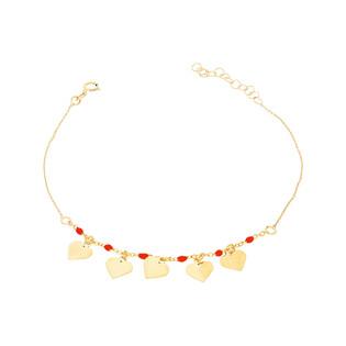 Bransoleta złota kulki czerwone i serca nr PW PGL131B-1-czerwone próba 585
