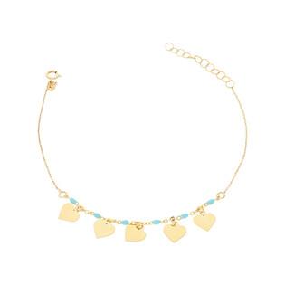 Bransoleta złota kulki jasno niebieskie i serca nr PW PGL131B-1-turkusowe próba 585