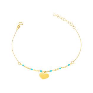 Bransoleta złota kulki jasno niebieskie i serca nr PW PGL135B-1-turkusowe próba 585