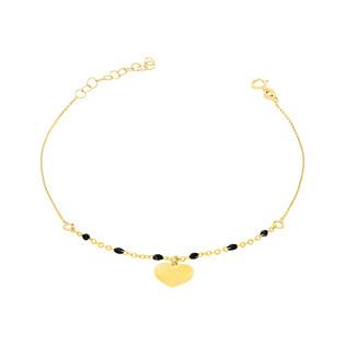 Bransoleta złota kulki czarne i serca nr PW PGL135B-1-czarne próba 585