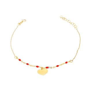 Bransoleta złota kulki czerwone i serca nr PW PGL135B-1-czerwone próba 585