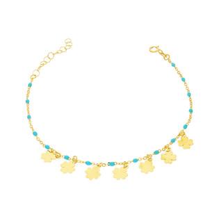 Bransoleta złota kulki jasno niebieskie i koniczynki nr PW PGL127B-2-turkusowe próba 585