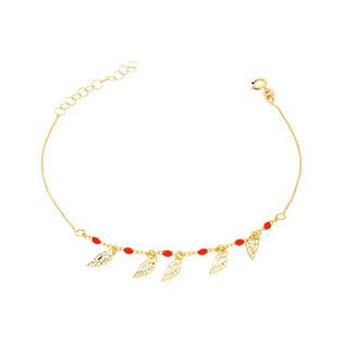 Bransoleta złota kulki czerwone i skrzydła nr PW PGL133B-0-czerwone próba 585