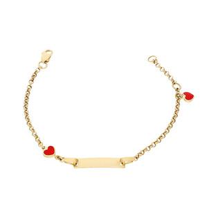 Bransoleta złota dziecięca z blaszką i sercami nr AR X3MROB1671-2 próba 333