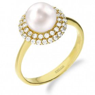 Pierścionek złoty z perłą i cyrkoniami nr FLMAR próba 585