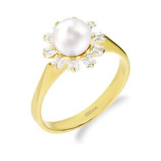 Pierścionek złoty z perłą i cyrkoniami nr ZI FLMAR-1 próba 585