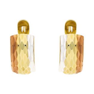 Kolczyki złote blaszki trzy kolorowe z angielskim zapięciem nr AR XXDCNSE207361-6-TC próba 333