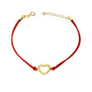 Bransoleta srebrna sznurkowa serce cyrkonie nr. PW 87G czerwony próba 925