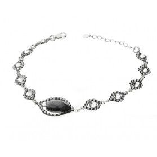 Bransoleta srebrna GRACE z szarymi kryształami Swarovski RD 735-253SINICR crystal próba 925
