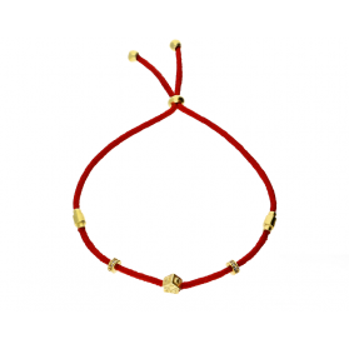 Bransoleta srebrna pozłacana sznurkowa dom, przekładki i stoper nr. PW 329G czerwona próba 925