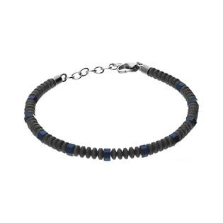 Bransoleta męska ze stali szlachetnej w kolorze szarym z elementami niebieskiego nr MB A2904