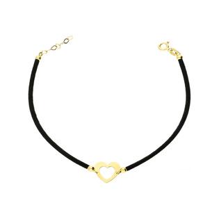 Bransoletka złota sznurkowa z serduszkiem nr GF GS041-5-1 próba 585