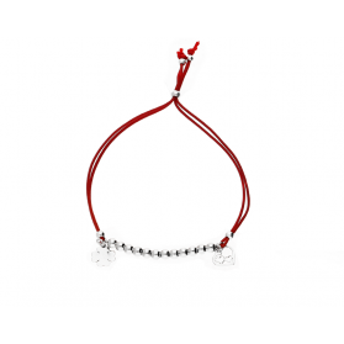 Bransoleta srebrna sznurkowa kulki z sercem w sercu i koniczyną nr. PW 96-2 czerwony próba 925