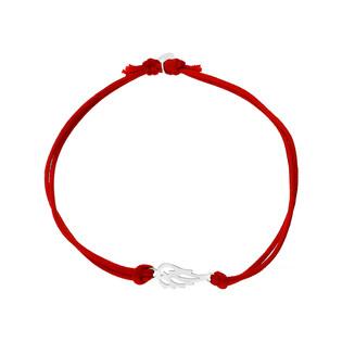 Bransoleta srebrna sznurkowa skrzydło ażurowe nr. PW 164 czerwony próba 925
