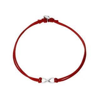 Bransoleta srebrna sznurkowa infinity nr. PW 166 czerwony próba 925
