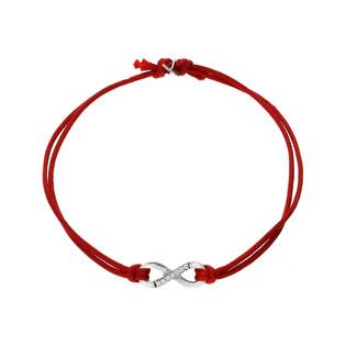 Bransoleta srebrna sznurkowa infinity ramka cyrkonie nr. PW 168 czerwony próba 925