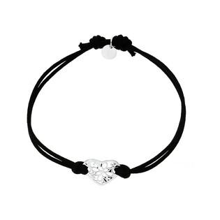 Bransoleta srebrna sznurkowa serce ornament nr. PW 169 czarny próba 925