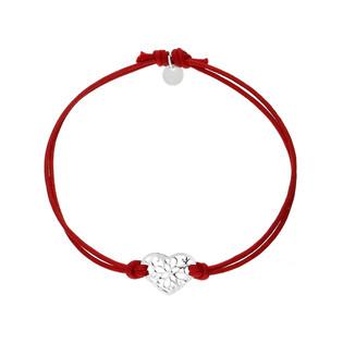 Bransoleta srebrna sznurkowa serce ornament nr. PW 169 czerwony próba 925