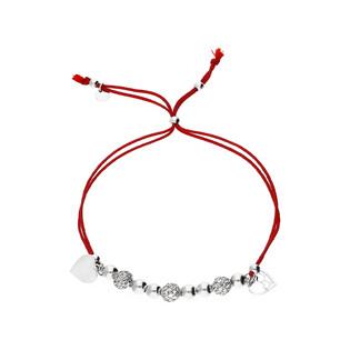 Bransoleta srebrna sznurkowa kulki z sercami nr. PW 96-9 czerwony próba 925