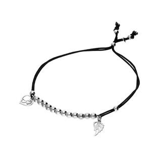 Bransoleta srebrna sznurkowa kulki z skrzydłem i sercem nr. PW 96-5 czarny próba 925