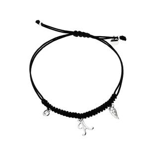 Bransoleta srebrna sznurkowa z wiszącym skrzydłem, łezką i literką A nr. PW 227-1 czarny próba 925