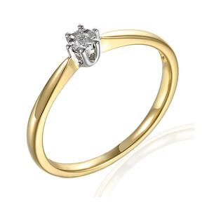 Pierścionek zaręczynowy SOLITER z diamentem nr AW 70211 YW-0,09 próba 585