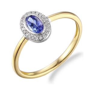 Pierścionek zaręczynowy z tanzanitem i diamentami nr AW 46623 YW-TA owal Markiza próba 585