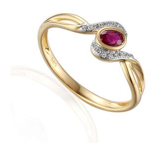 Pierścionek zaręczynowy z diamentami i rubinem nr AW 58015 YW-RU owal twist próba 585