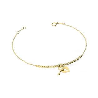 Bransoleta złota z kłódką w kształcie serca z kluczykiem nr AR 0559-DC Au 585