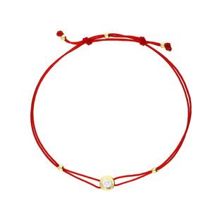 Bransoletka zlota sznurkowa z cyrkonią nr LP 34U25-B0048-Y-IP próba 585