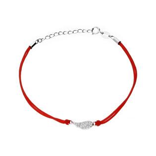 Bransoleta srebrna sznurkowa skrzydło w cyrkonie nr. PW 91 czerwony próba 925