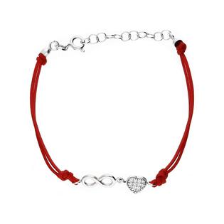 Bransoleta srebrna sznurkowa infinity serce w cyrkonie nr. PW 161 czerwony sznurek próba 925