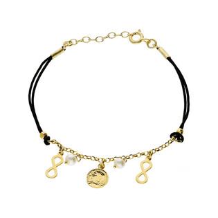 Bransoleta srebrna sznurkowa z perłą białą, infinity i monetą nr. PW 162-1G czarny próba 925