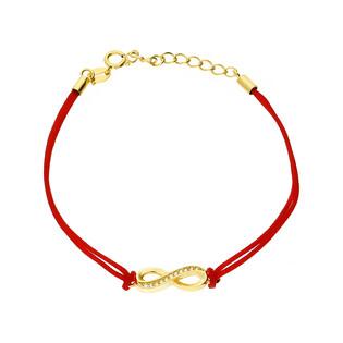 Bransoleta srebrna sznurkowa infinity pół cyrkonie nr. PW 54-1G czerwony próba 925