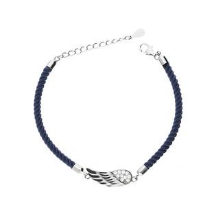 Bransoletka sznurkowa z motywem skrzydła nr HS697 niebieski próba 925